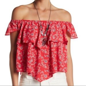 Mimi chica layered off shoulder ruffle top